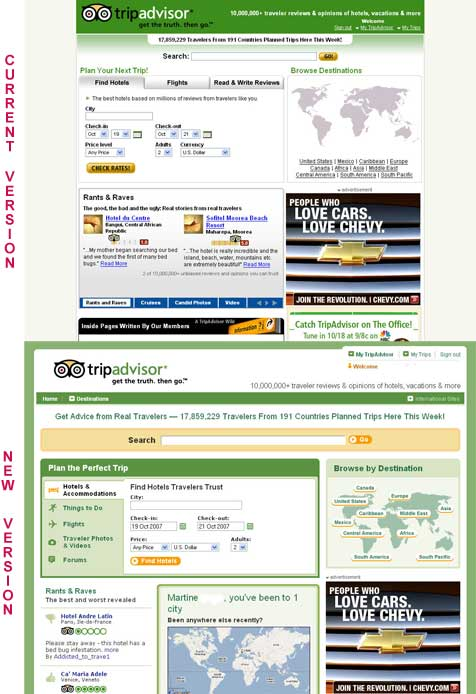 Tripadvisor before and after screenshot